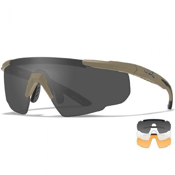 Wiley X Saber Advanced - Smoke Grey + Clear + Light Rust Lens / Matte Tan Frame