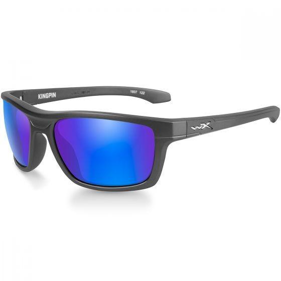 Wiley X WX Kingpin Glasses - Polarized Blue Mirror Lens / Matte Graphite Frame