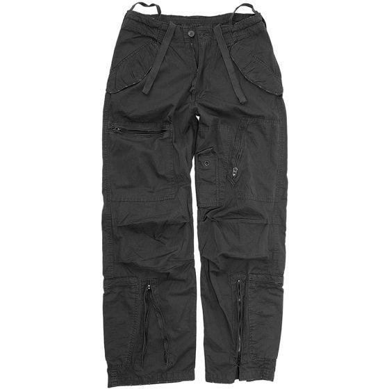 Mil-Tec Pilot Trousers Poplin Cotton Prewashed Black