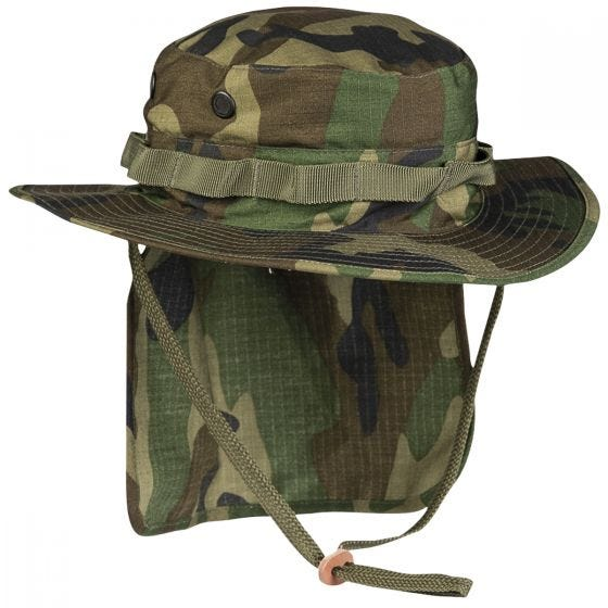 Teesar British Boonie Hat with Neck Flap Ripstop Woodland