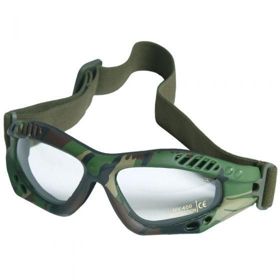 Mil-Tec Commando Goggles Air Pro Clear Lens Woodland Frame