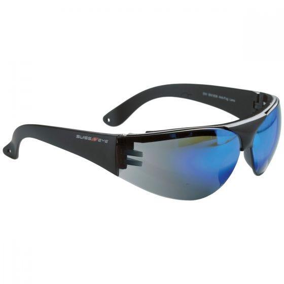 Swiss Eye Outbreak Protector Glasses Black Frame Blue Mirror Lens