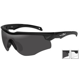 Wiley X WX Rogue Glasses - Smoke Grey + Clear Lens / Matte Black Frame