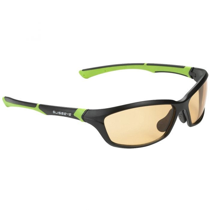 Swiss Eye Drift Sunglasses - Photochromic Orange Smoke Lens / Matt Black Green Frame