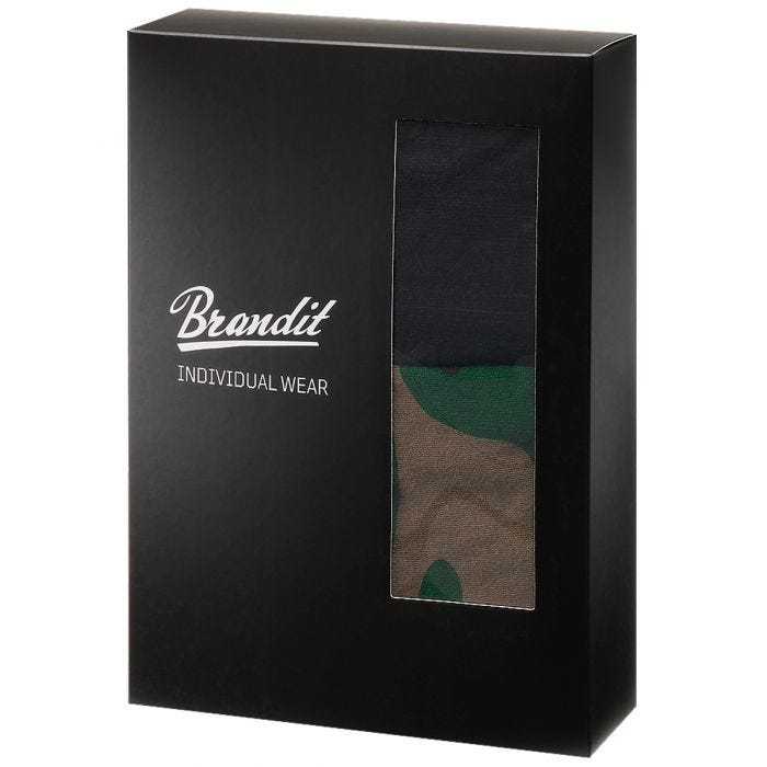 Brandit Boxer Shorts Logo 2 Pack Woodland / Black