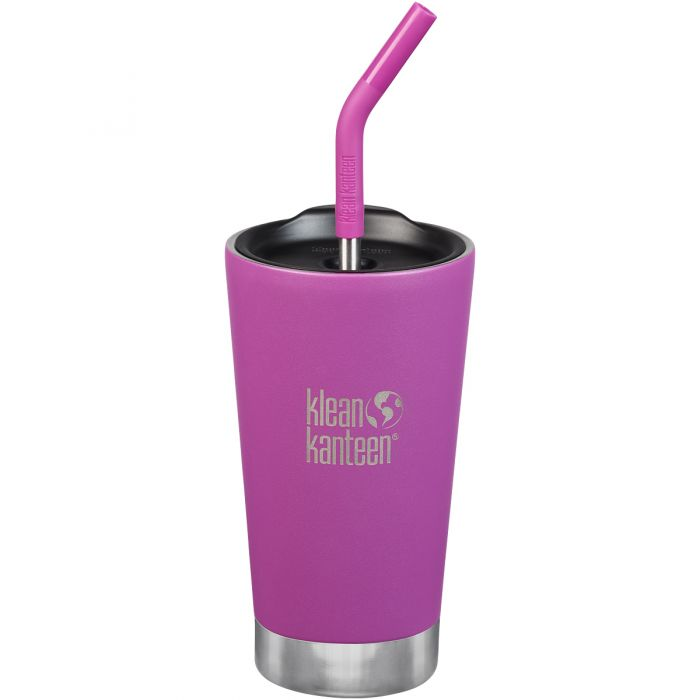 Klean Kanteen 473ml Tumbler Vacuum Insulated Straw Lid Berry Bright