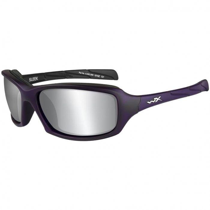 Wiley X WX Sleek Glasses - Smoke Grey Silver Flash Lens / Matte Violet Frame