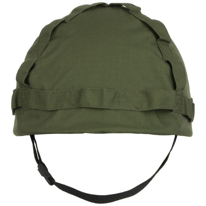 MFH Plastic Helmet with OD Green Cloth Cover