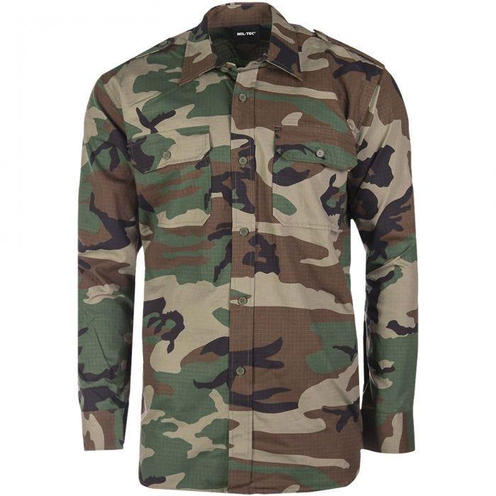 Mil-Tec RipStop Shirt Long Sleeve Woodland