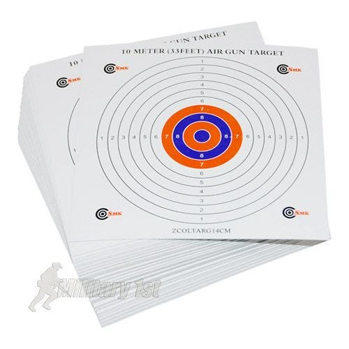 SMK Colour Centre 14cm Card Targets (100 Pack)