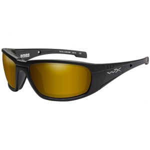 Wiley X WX Boss Glasses - Polarized Venice Gold Mirror Lens / Matte Black Frame