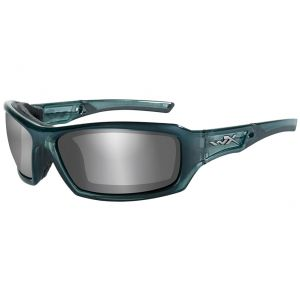 Wiley X WX Echo Glasses - Smoke Grey Silver Flash Lens / Smoke Steel Blue Frame