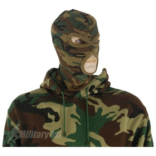 MFH 3 Hole Balaclava Lightweight Cotton Woodland