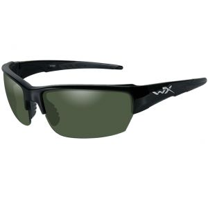 Wiley X WX Saint Glasses - Polarized Smoke Green Lens / Gloss Black Frame