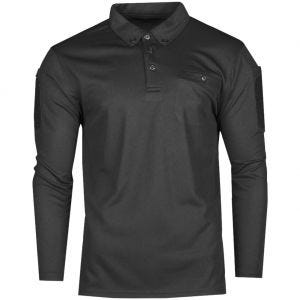Mil-Tec Tactical Long Sleeve Quick Dry Polo Shirt Black