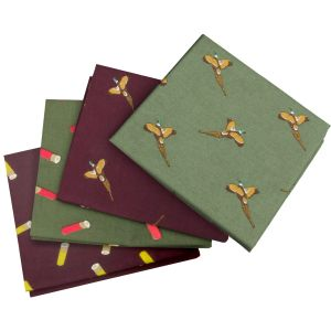 Jack Pyke 4 Pack Hankies Pheasant and Cartridge Wine/Green