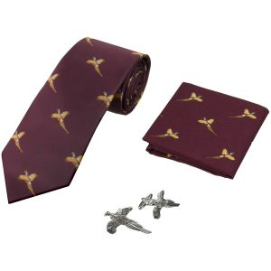 Jack Pyke Tie, Hanky and Cufflinks Gift Set Pheasant Wine