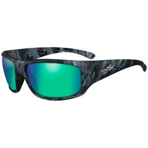 Wiley X WX Omega Glasses - Polarized Emerald Mirror Lens / Kryptek Neptune Frame